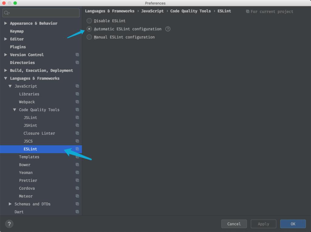 在WebStorm中使用ESLint开发Vue项目